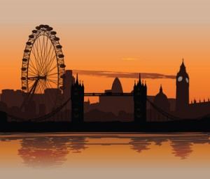 Sonnenuntergang mit der London-Skyline